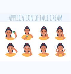 Face cream application steps flat vector
