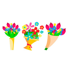 flowers bouquets set beautiful floral gift vector image