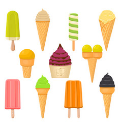 For set natural colored ice cream vector