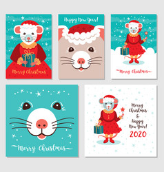 funny christmas rats greeting cards merry vector image