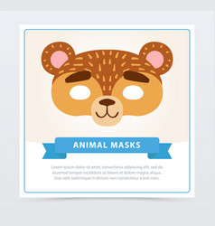 Funny mask bear muzzle wild animal character vector