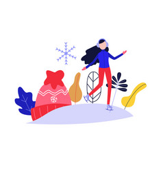 girl in headphones ice-skating outdoors in winter vector image