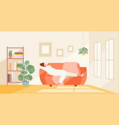 Girl spending time at home vector