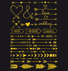 gold wedding arrows set vector image