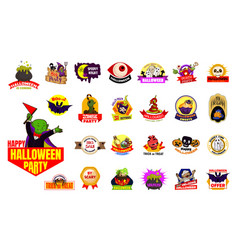 halloween emblem logo set cartoon style vector image