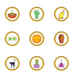 Halloween icon set cartoon style vector