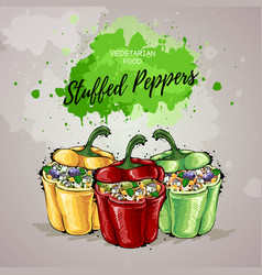 Hand drawing artistic stuffed peppers vector