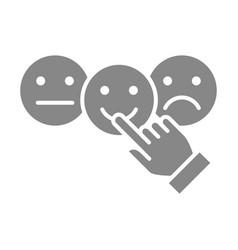 Hand puts happy neutral sad rating grey icon vector