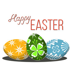 happy easter poster three egg set on white vector image