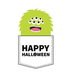 Happy halloween green fluffy monster silhouette vector