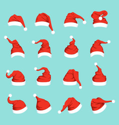 hats of santa big christmas set isolated vector image