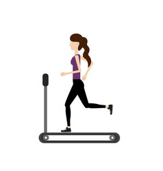healthy woman doing exercise in the runing mashine vector image