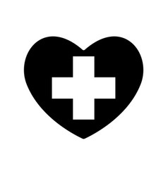 Heart black icon love symbol plus sign or a vector