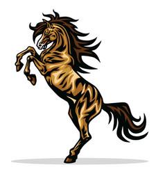 horse mustang rearing mascot logo design vector image