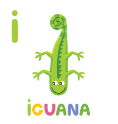 i is for iguana letter i iguana cute animal vector image