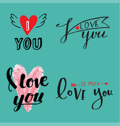I love you text overlays hand drawn vector