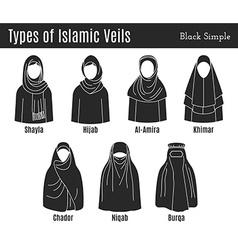 Islamic Veil Icon Set vector