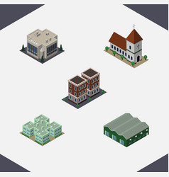 isometric building set of warehouse house clinic vector image