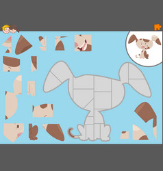 Jigsaw puzzle game with puppy dog vector