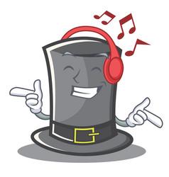 Listening music thanksgiving hat character cartoon vector