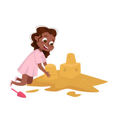 Little african american girl playing on pile of vector