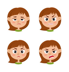 little girl angry face expression set of cartoon vector image