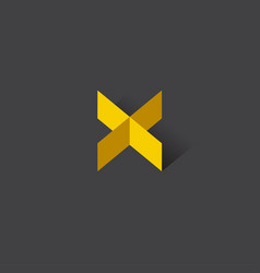 Logo x origami yellow vector