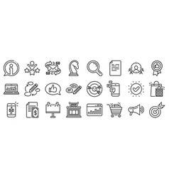 Marketing line icons strategy feedback vector
