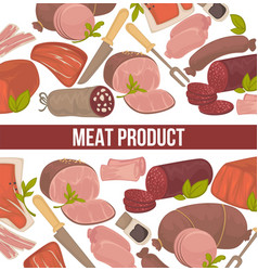 meat products seamless pattern herbs and spices vector image