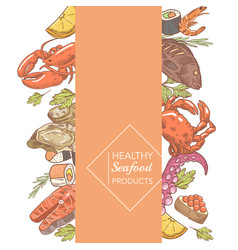 menu design restaurant hand drawn seafood vector image