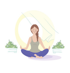 morning meditation girl meditating open vector image