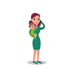 mother talking on the phone with baby in her arms vector image