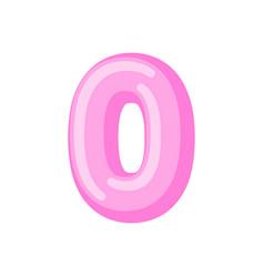 number 0 candy font caramel alphabet zero vector image