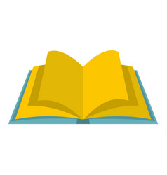 Open book with yellow pages icon isolated vector