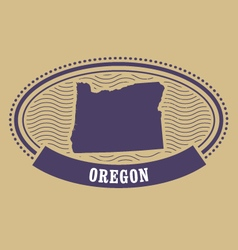 Oregon map silhouette - oval stamp vector