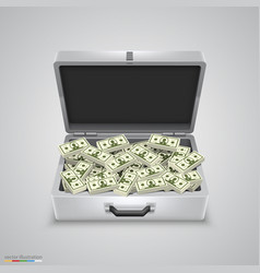Outdoor metal briefcase dollar vector
