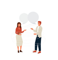 pair people talking background young vector image