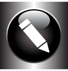 Pencil icon on black button vector