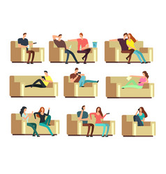 People watching tv resting with phone snacking vector