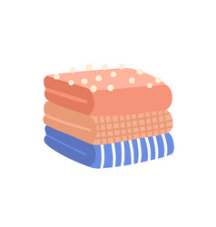 Pile folded clothes flat vector