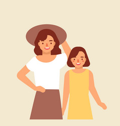 portrait of smiling mother in hat and her daughter vector image