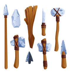 Prehistoric weapon stone ages tools made rocks vector
