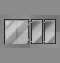 Realistic glass doors shopping mall stores or vector