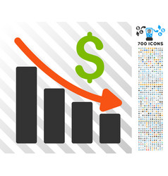 Recession trend flat icon with bonus vector