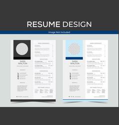 Resume design template image vector