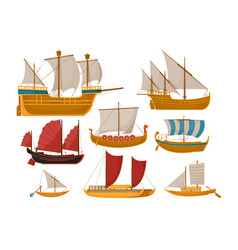 sailboat set with sea vessel and ocean ship side vector image