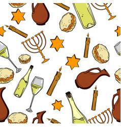 Seamless pattern with hanukkah symbols vector