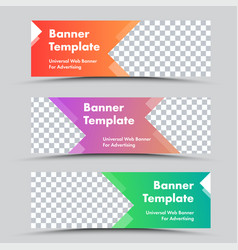 Set colored web banners with arrow shapes vector