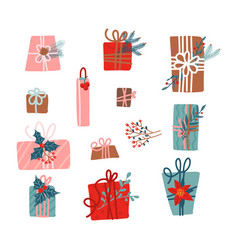 set gift boxes decorated with fir branches and vector image