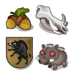 set isolated of wild boar theme and acorn vector image